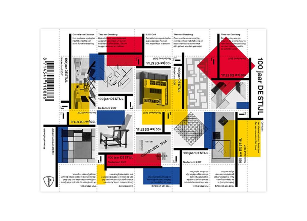 Postage stamps celebrating 100 years of de stijl dutch design daily - Sofa stijl jaar ...